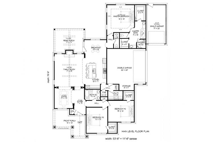 Cottage House Plan -  55695 - 1st Floor Plan