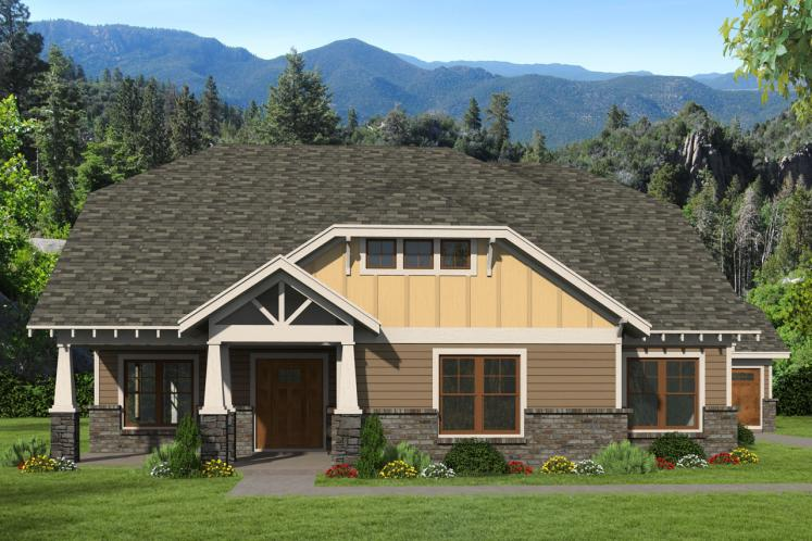 Craftsman House Plan -  55695 - Front Exterior