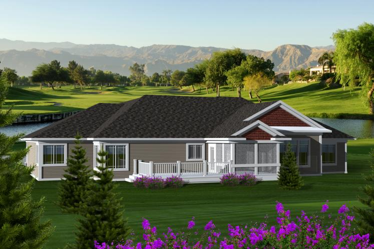 Classic House Plan -  55736 - Rear Exterior