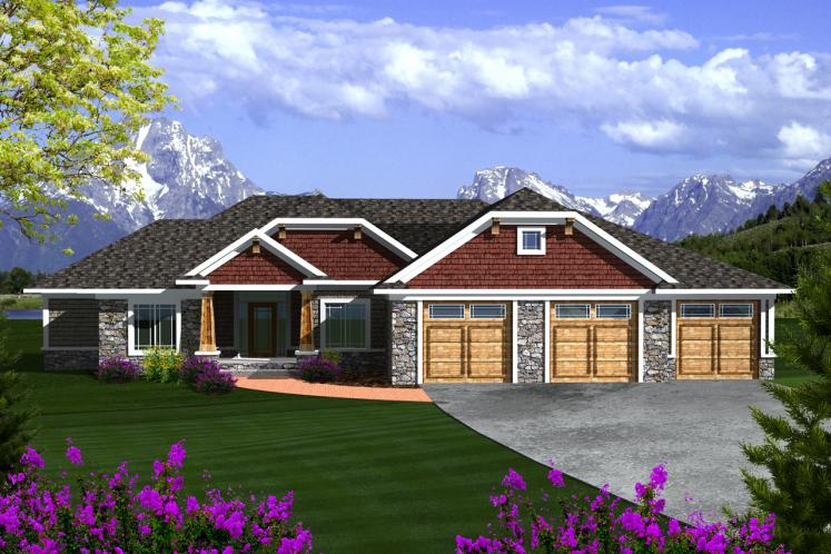 Ranch House Plan -  55736 - Front Exterior
