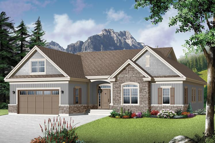 Ranch House Plan - Oakdale 3 55821 - Front Exterior
