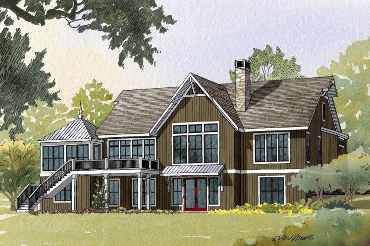 Cottage House Plan - Crosswinds 55874 - Rear Exterior