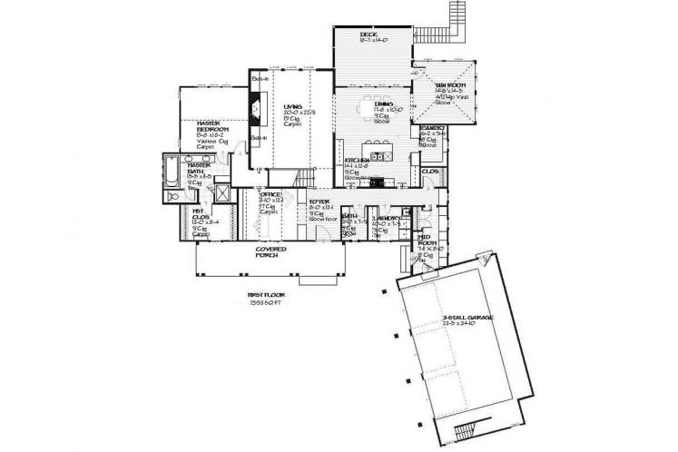 Cottage House Plan - Crosswinds 55874 - 1st Floor Plan