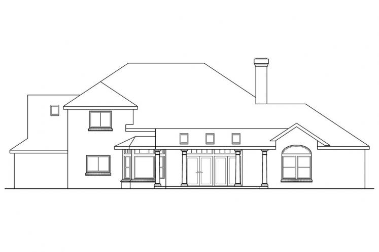Classic House Plan - Ainsworth 55903 - Rear Exterior