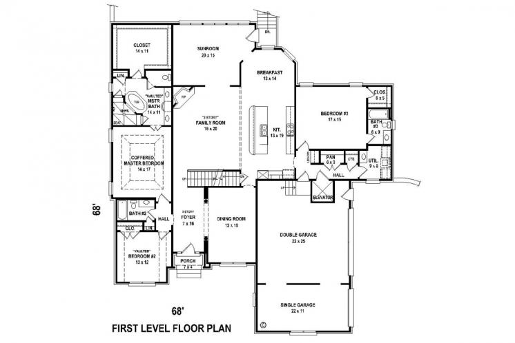 Classic House Plan -  55924 - 1st Floor Plan