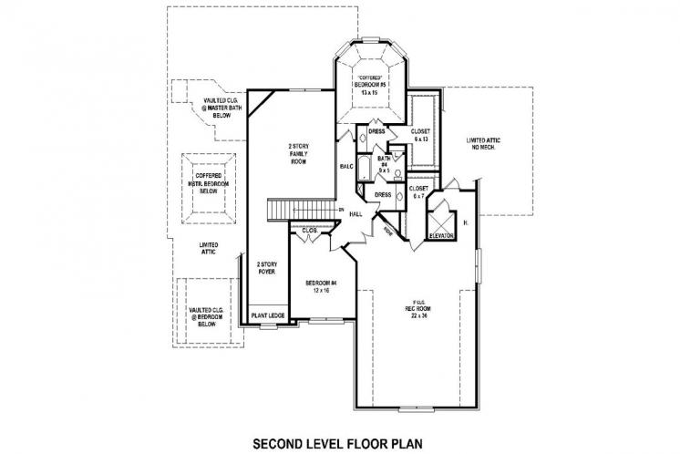 Southern House Plan -  55924 - 2nd Floor Plan