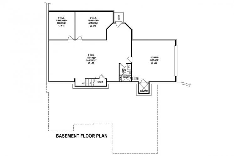 Traditional House Plan -  55924 - Basement Floor Plan