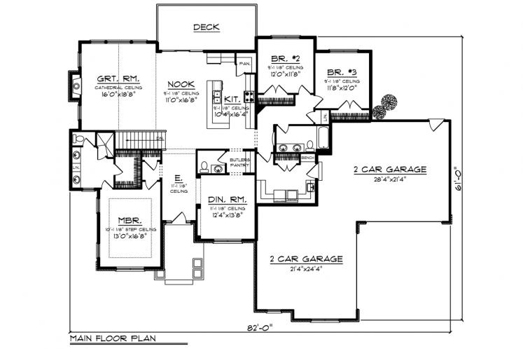 Ranch House Plan -  56193 - 1st Floor Plan