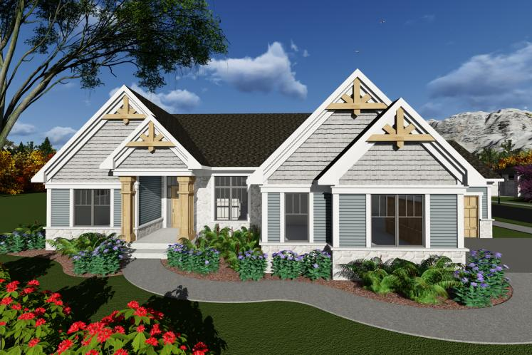 Ranch House Plan -  56193 - Front Exterior
