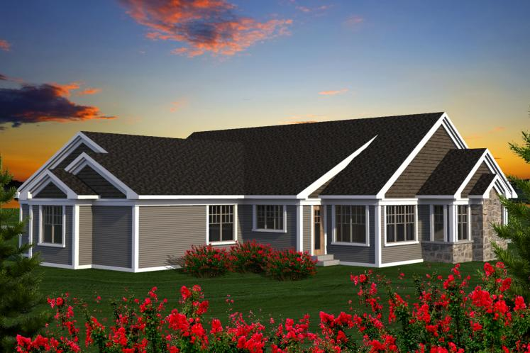 Country House Plan -  56264 - Rear Exterior