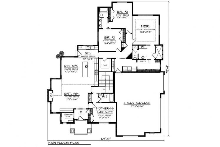 Ranch House Plan -  56264 - 1st Floor Plan