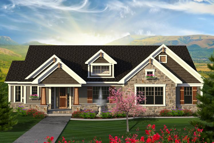Craftsman House Plan -  56264 - Front Exterior