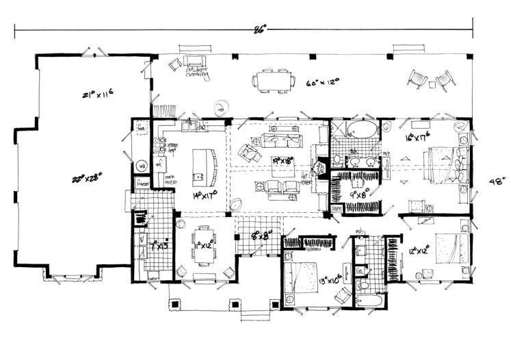 Ranch House Plan - Dove Creek 56345 - 1st Floor Plan