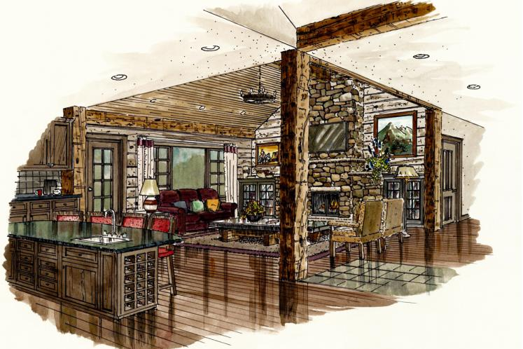 Traditional House Plan - Dove Creek 56345 - Living Room