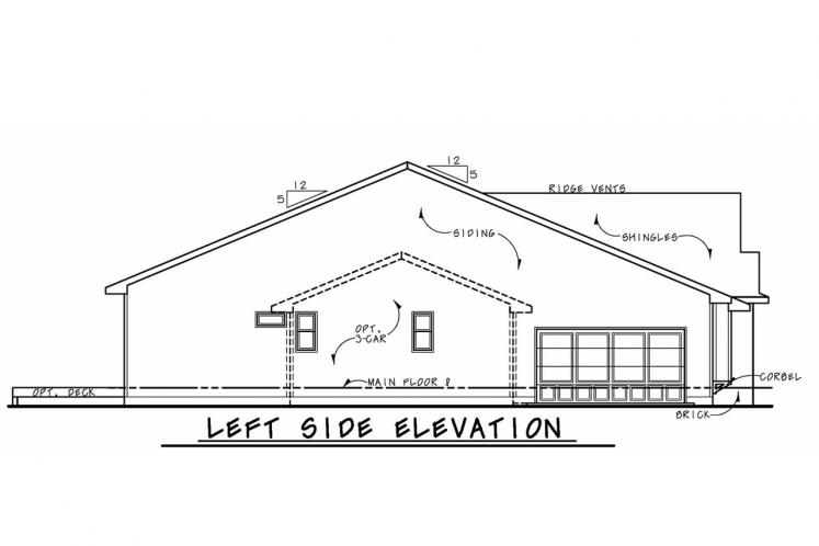 European House Plan - Wilmert Gable 56543 - Left Exterior