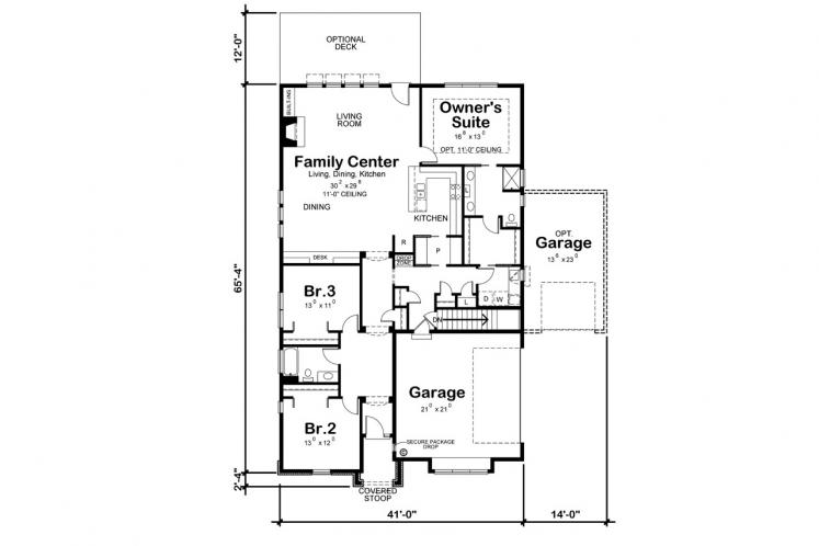 Country House Plan - Wilmert Gable 56543 - 1st Floor Plan