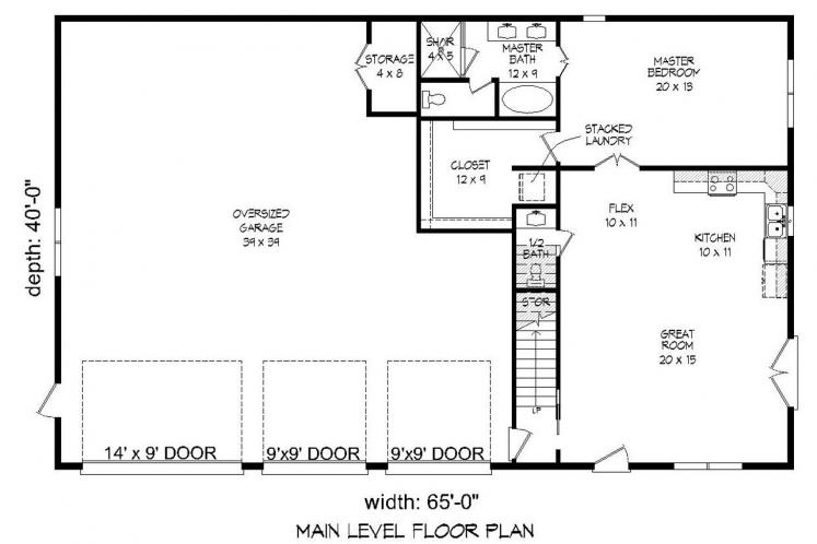 Traditional Garage Plan - Legard Farms 56974 - 1st Floor Plan