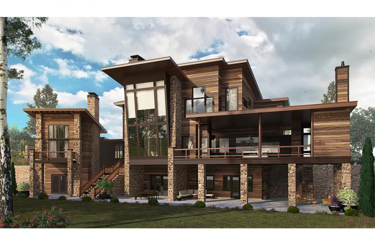 Contemporary House Plan - Aurora 57029 - Rear Exterior