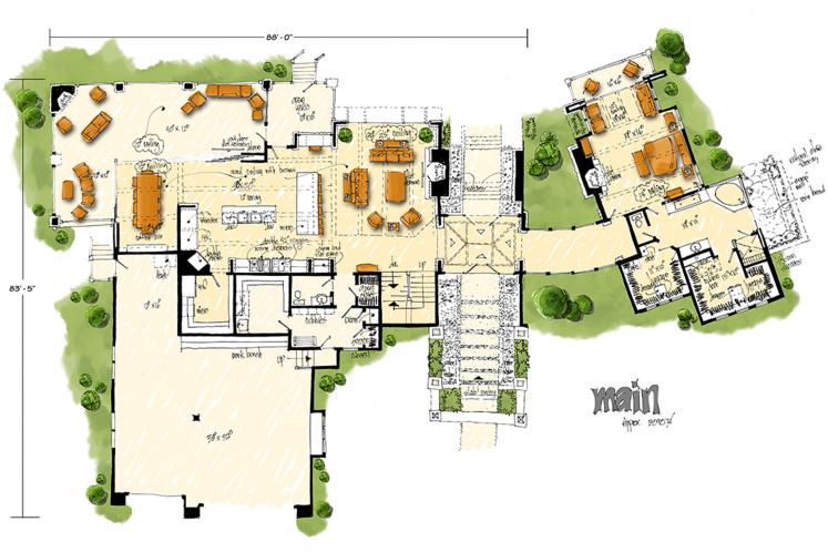 Modern House Plan - Aurora 57029 - 1st Floor Plan