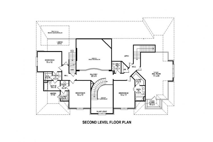 Southern House Plan -  57038 - 2nd Floor Plan