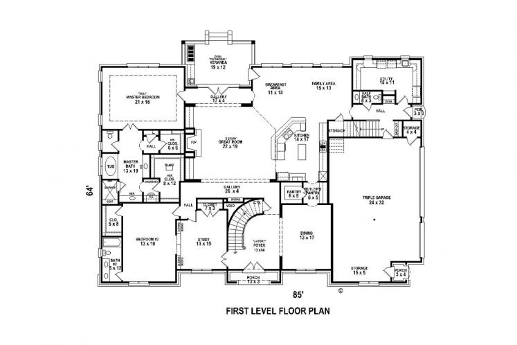 Classic House Plan -  57038 - 1st Floor Plan
