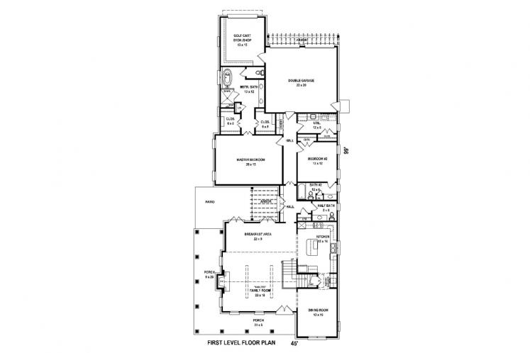 Traditional House Plan -  57064 - 1st Floor Plan
