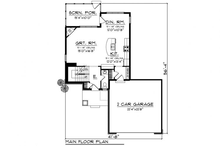Country House Plan -  57111 - 1st Floor Plan