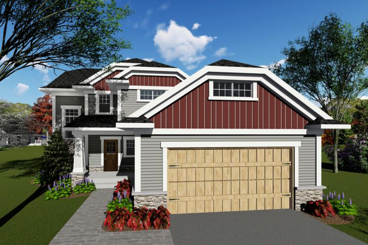 Craftsman House Plan -  57111 - Front Exterior