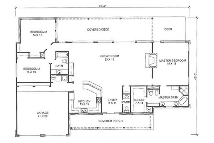 Country House Plan - Milton 57134 - 1st Floor Plan