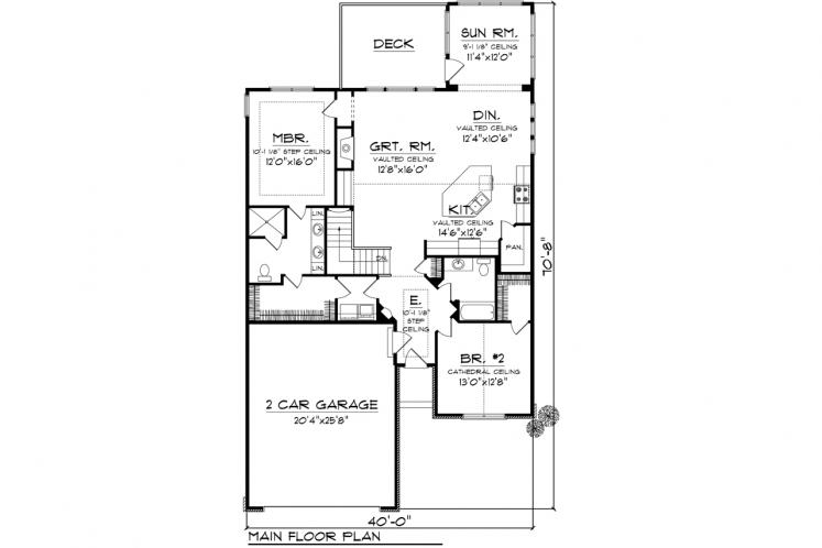 Traditional House Plan -  57166 - 1st Floor Plan
