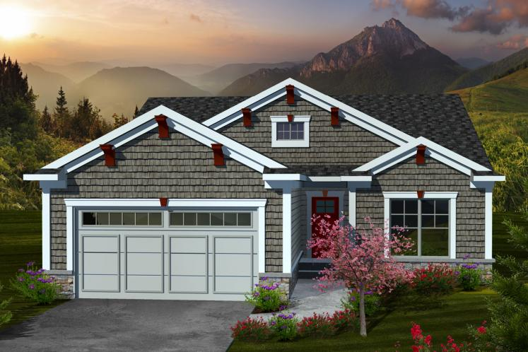 Ranch House Plan -  57166 - Front Exterior