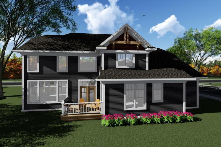 Bungalow House Plan -  57227 - Rear Exterior