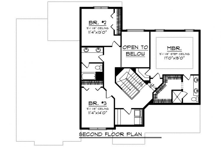 Bungalow House Plan -  57227 - 2nd Floor Plan