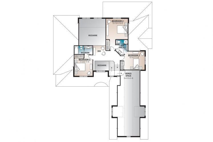 Ranch House Plan - The Stocksmith 57383 - 2nd Floor Plan