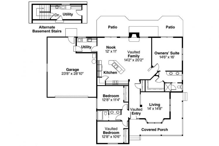 Cottage House Plan - Ann Arbor 57579 - 1st Floor Plan