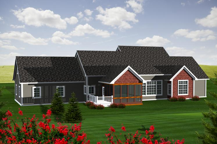 Classic House Plan -  57650 - Rear Exterior