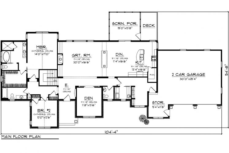 Traditional House Plan -  57650 - 1st Floor Plan