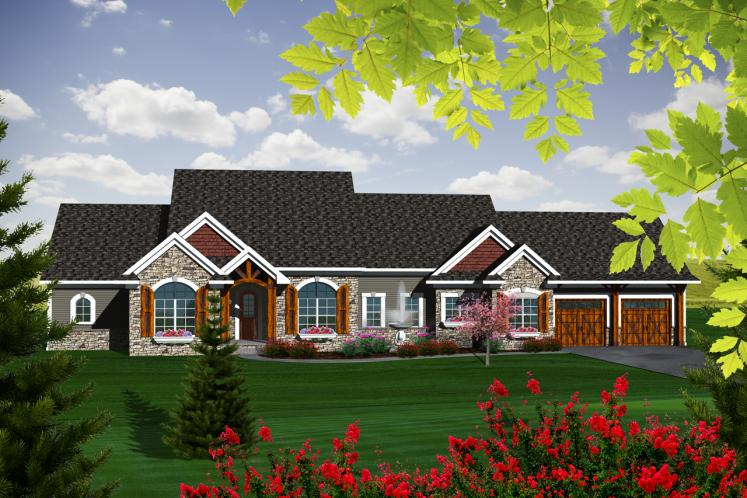 Ranch House Plan -  57650 - Front Exterior