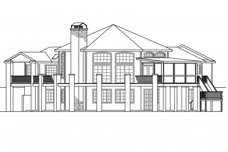 Classic House Plan - Hillview 57833 - Rear Exterior