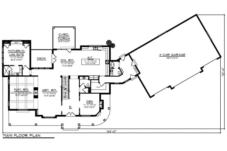 Country House Plan -  57960 - 1st Floor Plan