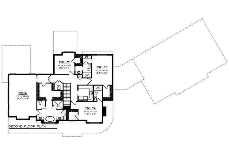 Farmhouse House Plan -  57960 - 2nd Floor Plan