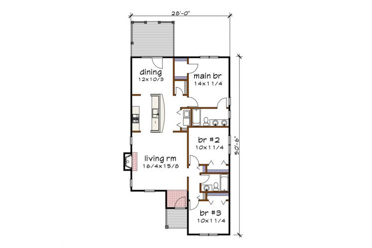 Country House Plan -  57976 - 1st Floor Plan
