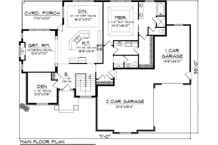 Southern House Plan -  58060 - 1st Floor Plan