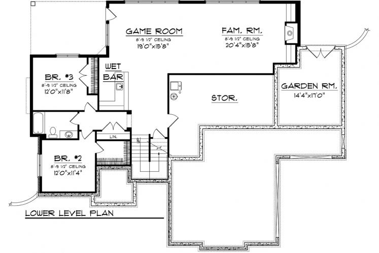 Traditional House Plan -  58060 - Basement Floor Plan