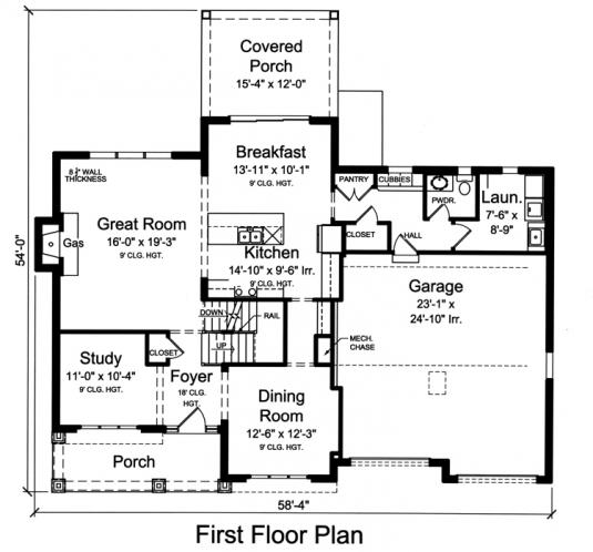 Colonial House Plan - The Scarborough 58099 - 1st Floor Plan