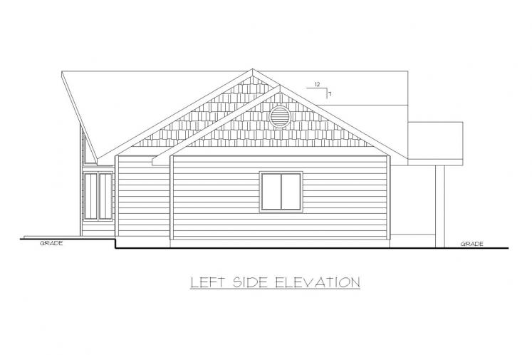 Ranch House Plan -  58305 - Left Exterior