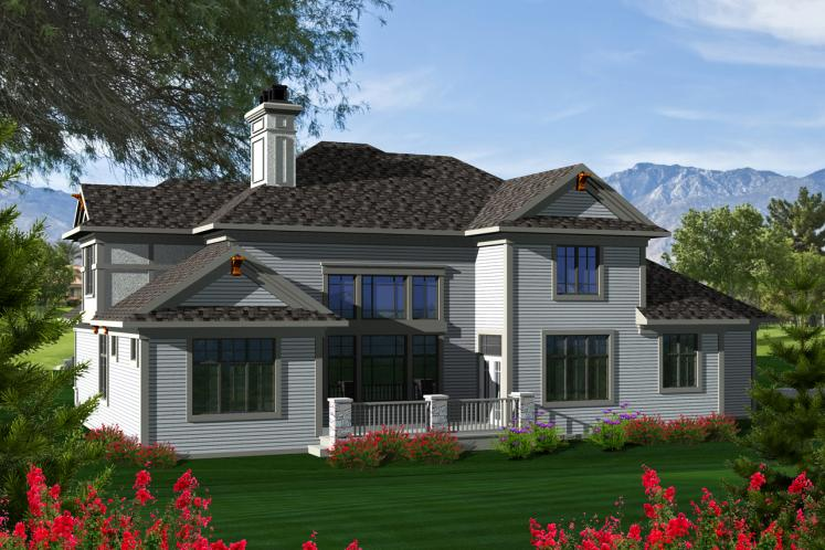 Craftsman House Plan -  58346 - Rear Exterior