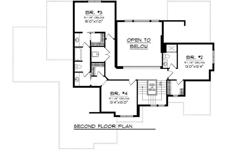 Tudor House Plan -  58346 - 2nd Floor Plan