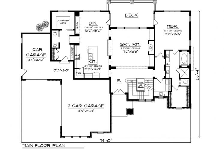 Modern House Plan -  58346 - 1st Floor Plan
