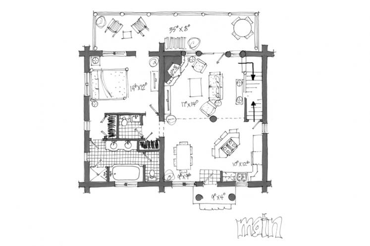 Lodge Style House Plan - Keystone 58431 - 1st Floor Plan